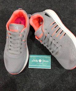 Giày Adidas Neo xám cam sọc kẻ