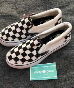 Giày Vans Lười caro đen trắng