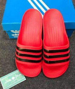 Dép Adidas đúc đỏ sọc đen