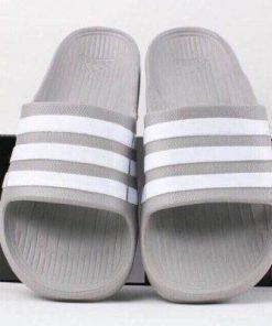Dép Adidas Đúc xám sọc trắng