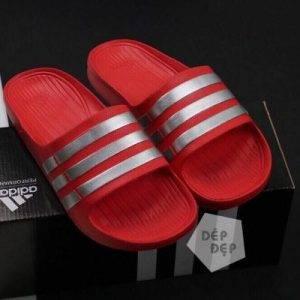 Dép Adidas đúc đỏ sọc xám