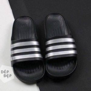Dép Adidas Đúc đen sọc bạc