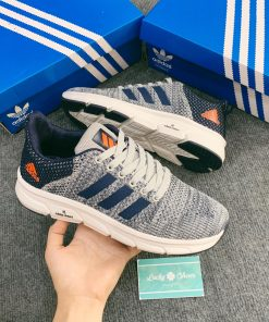 Giày Adidas Xám xanh logo cam
