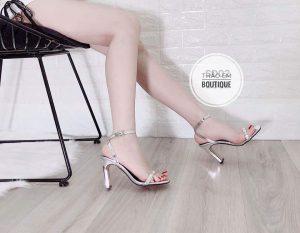 Dép sandal cao gót nữ 9 cm da bóng